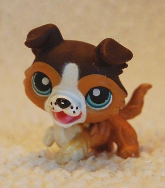 RARE Littlest Pet Shop LPS Collie Dog #237 237 Blue Eyes Raised Paw Open Mouth #Hasbro
