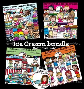 This bundle includes 203 images!!!The Following Included Sets Are Also Sold Seperately:Ice Cream Clip Art Bundle includes these 4 packs:  Create Your Own Ice Cream How To Make An Ice Cream  Ice Cream Truck and Stand  Kids Eating Ice Cream If you have purchased one or more of these sets, PLEASE don't purchase the bundle. $17.50