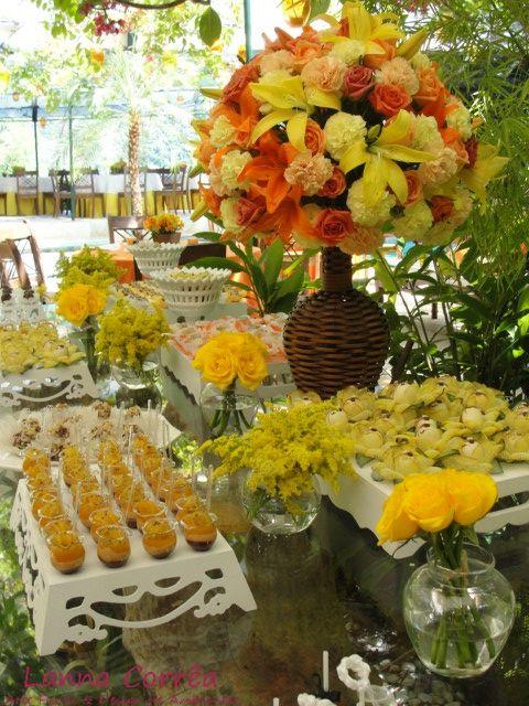 decoração para casamento amarelo e laranja - Pesquisa Google