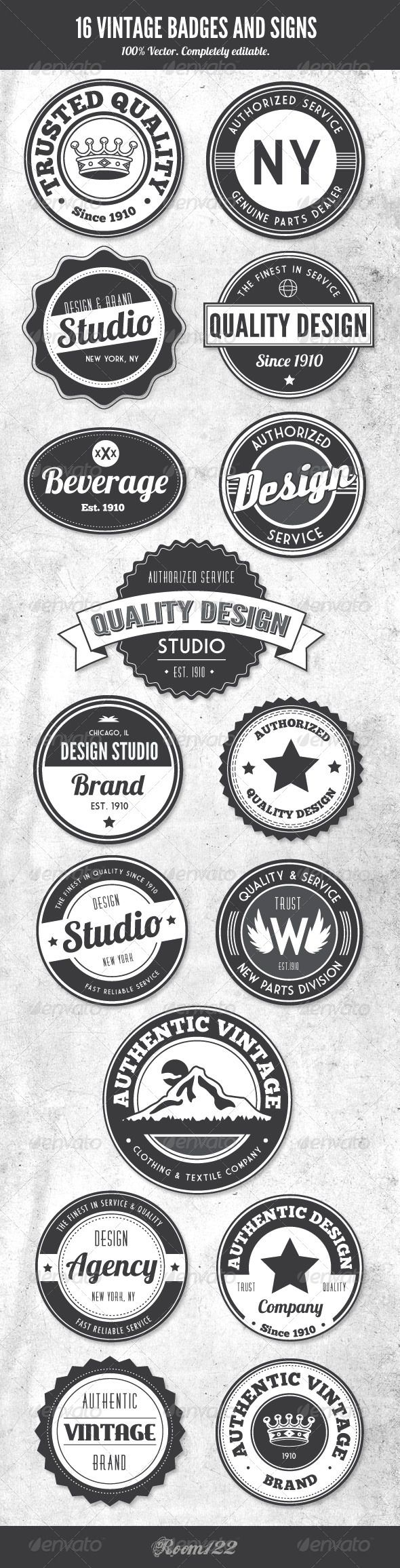 Vintage Style Badges and Logos-Great inspiration for lots of 'badges/buttons/logos'