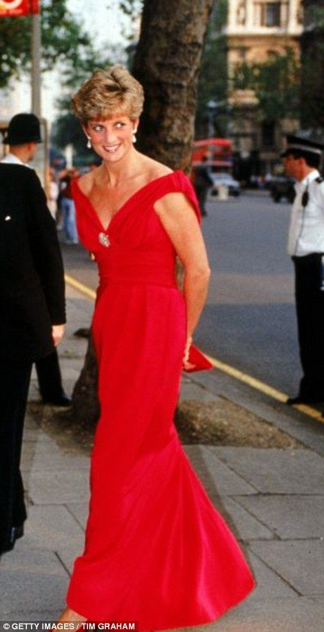 Red alert: Diana, Princess of Wales, in a red evening dress designed by Victor Edlestein, arriving at Banquet House, Whitehall
