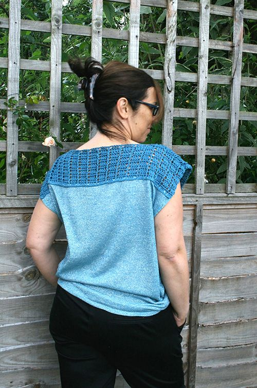Blue wave fabric top crochet by Luz Patterns