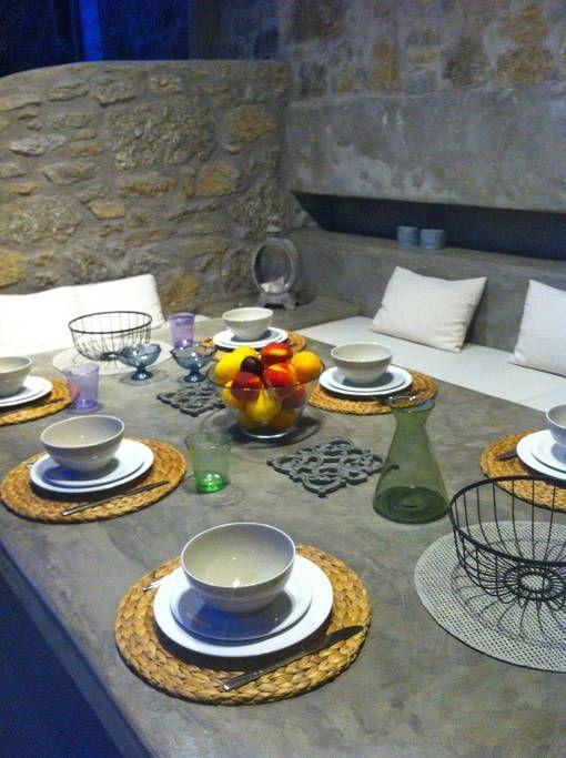 Mykonos villas for rent: villa Cyclamen.  Al fresco dining area