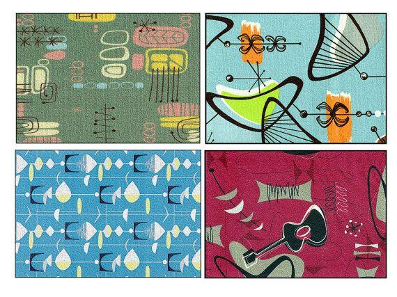 Mid century modern, Barkcloth, mid century art, retro, atomic, boomerang, starburst, mid century love, SET of 4