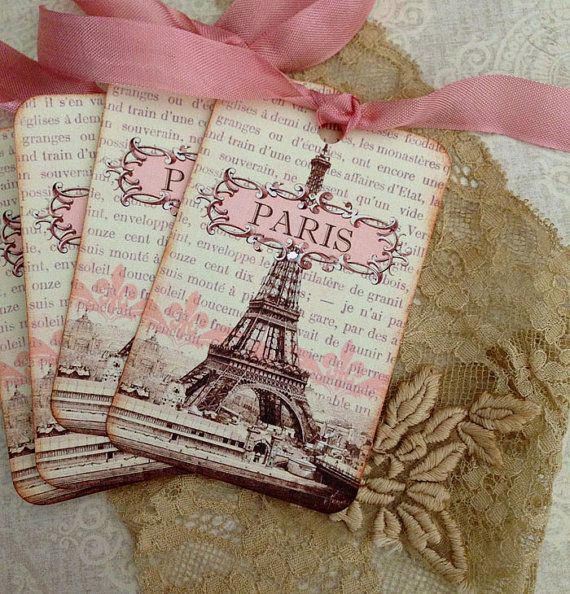 Paris Tags - SEPIA AND PINK - Vintage French Tags - Eiffel Tower Tags - Paris 1889 Exposition - Set of 4