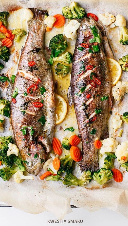 BAKED WHOLE TROUT with LEMON, CHILE & BUTTERED VEGETABLES [kwestiasmaku] [chile, chilli, chili, pepper, chili pepper, hot pepper]