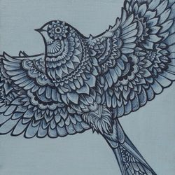 Floral bird painting. #7. SOLD