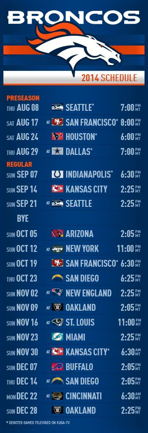 Denver Broncos Schedule WE WILL BEAT SEATTLE!!! REVENGE!!!!! :)