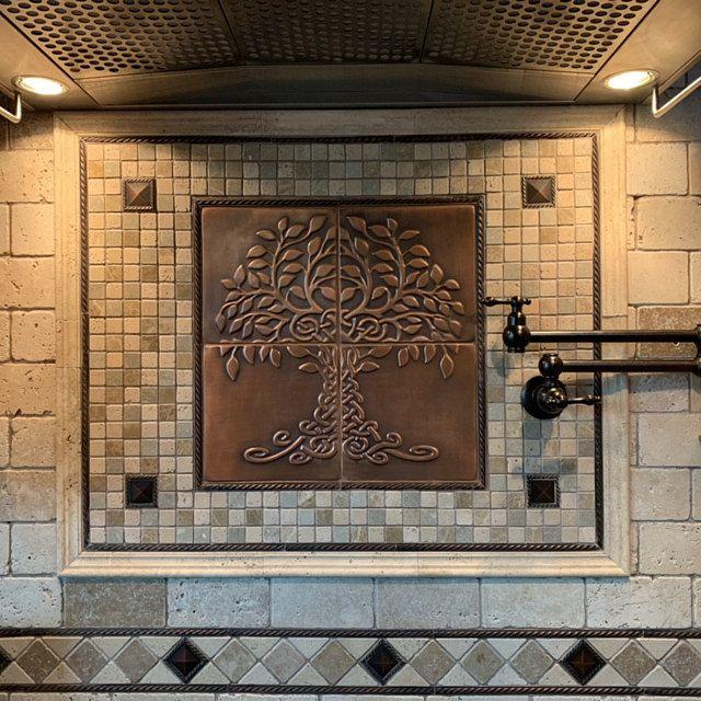 Tree Of Life Backsplash Kitchen Backsplash 20 Tiles Design Backsplash Tiles Silver Tiles Copper Tiles In 2020 Feature Tiles Focal Point Tile Copper Decor