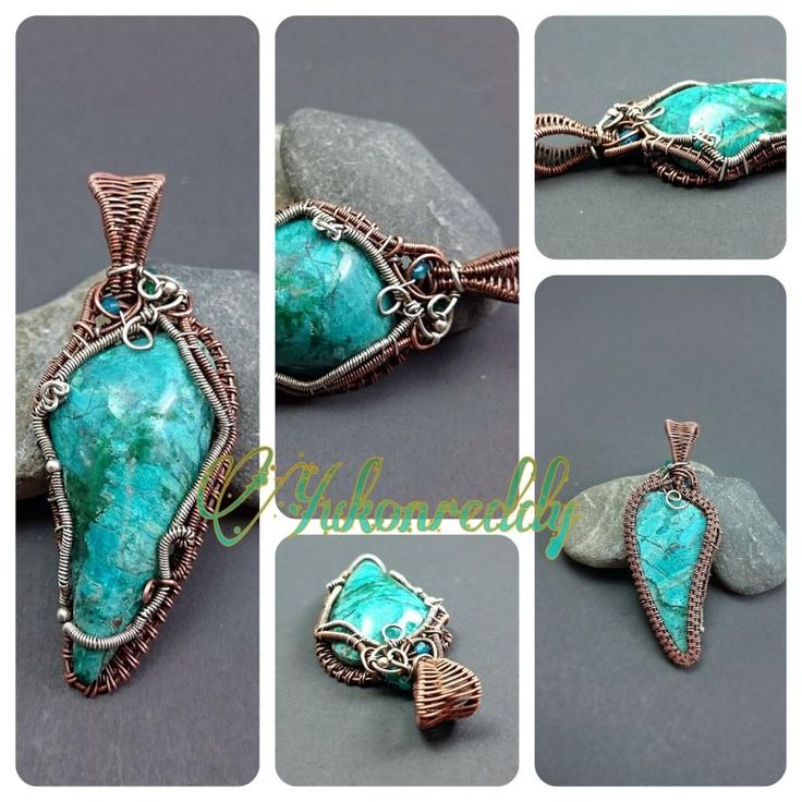 Chrysocolla mixed metals pendant - Jewelry creation by Becca Ross