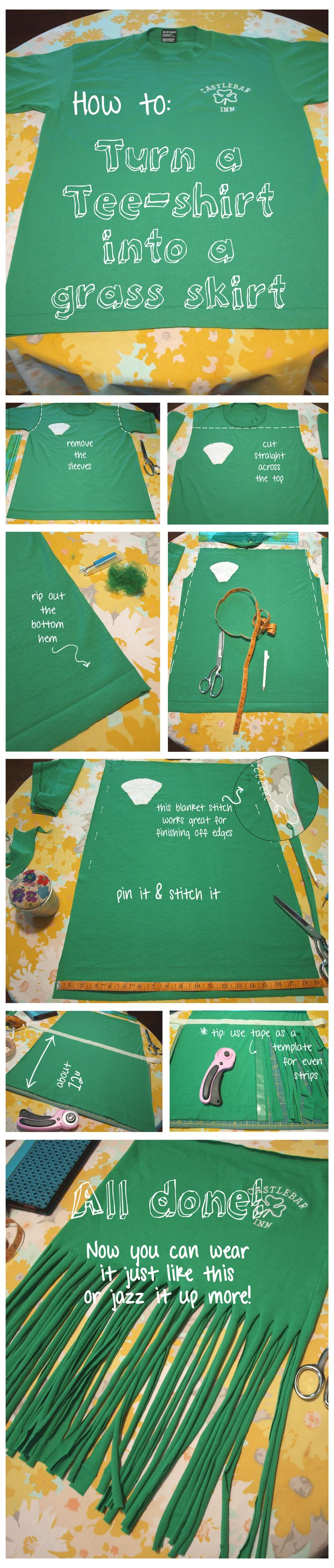 Tee shirt to Grass skirt tutorial