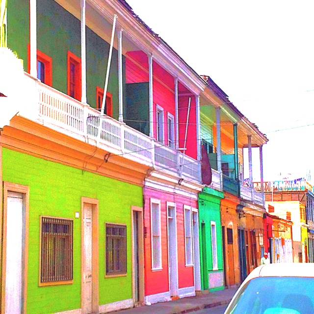 Colourful houses in Iquique city in the north of Chile.