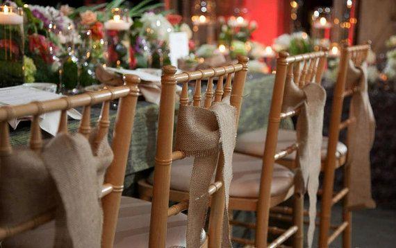 25 Qty Burlap chair sash  Rustic wedding by MadeInBurlap on Etsy