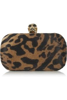Alexander McQueen|Skull ocelot-print calf hair box clutch|NET-A-PORTER.COM - StyleSays