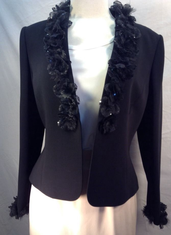 Albert Nipon Women's Formal Jacket Size 8 Black Flower And Sequin Trimmed  #AlbertNipon #Blazer