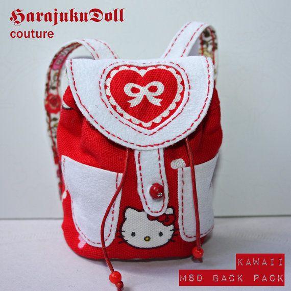 HarajukuDoll msd size kawaii backpack kitty red by killingsissy