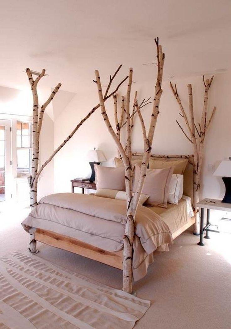 Tolle Deko-Idee für das Bett: Kleine Bäume als Bettgestell. Schlafen wie in der freien Natur. >> amazing redecorating bedroom ideas birch treebed #decor #interiors