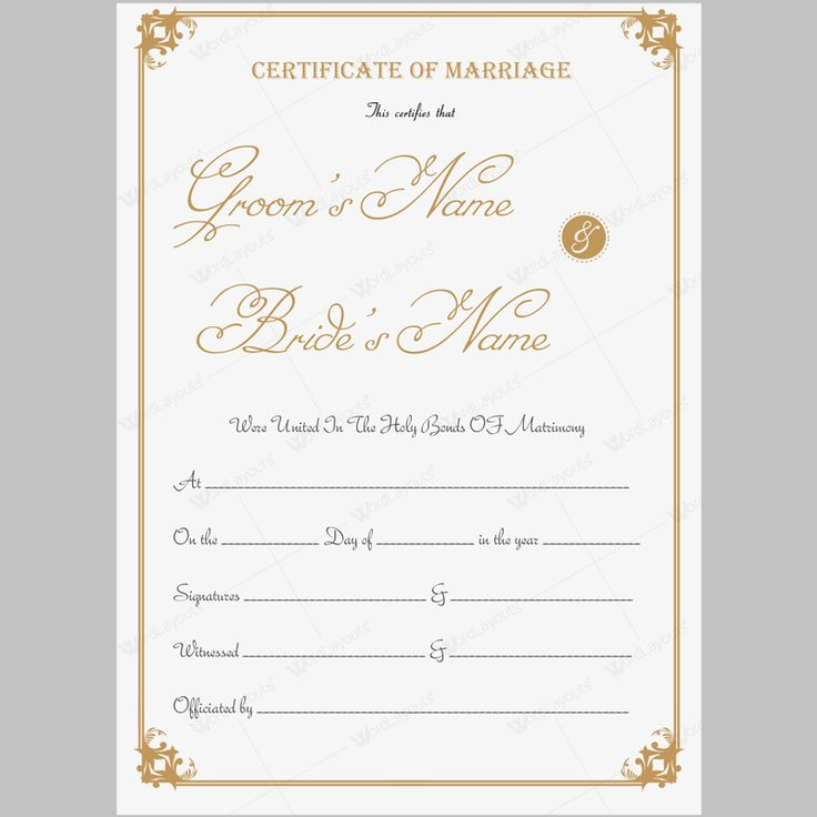 Formal marriage certificate.Editable and printable. #marriagecertificatetemplate #marriagecertificateword