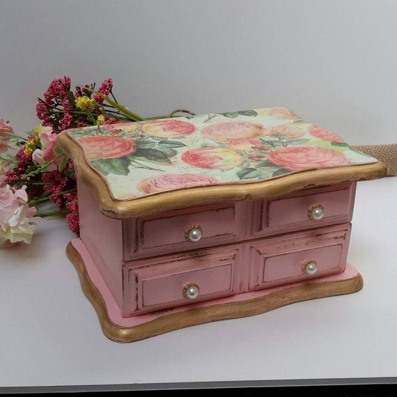$59. Pink and Gold JEWELRY BOX SHABBY Chic jewelry dresser by Eweniques