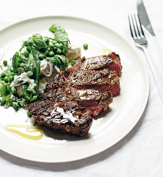 Scotch fillet with mozzarella, pea and herb salad recipe - Better Homes and Gardens - Yahoo!7