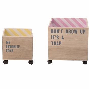 Bloomingville Childrens Storage Boxes - Don't Grow Up: The ideal storage boxes to store away all those toys, stylish and contemporary with super cool slogans and funky stripes inside, they will look great in any playroom or bedroom.