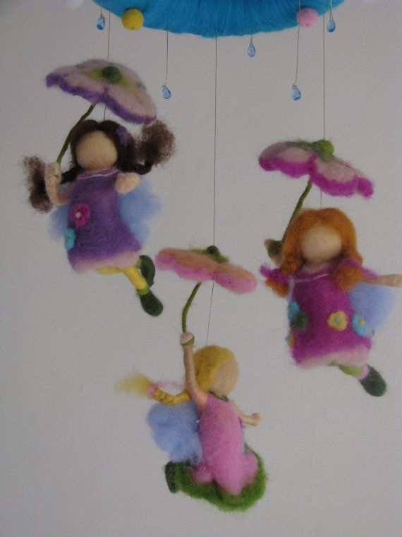 *NEEDLE FELTED ART ~ Waldorf inspired nursery mobile - Its raining day - needle felted - ready to ship.....These mobiles are 2-2 CUTE!!