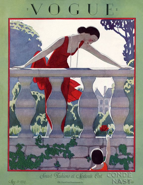 Vogue cover 1924.... the blend of colour and shadows is very effective in capturing the change of light and the onset of twilight.