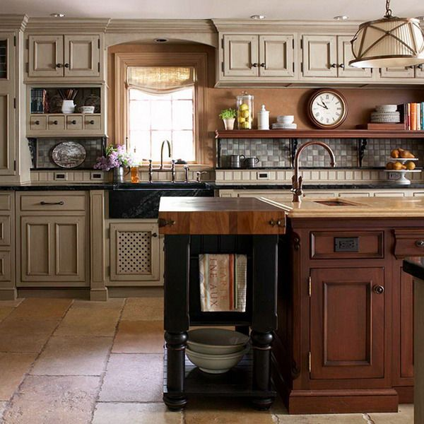 love the look of this three tone kitchen cabinets kitchen layout - Kitchen Looks Ideas