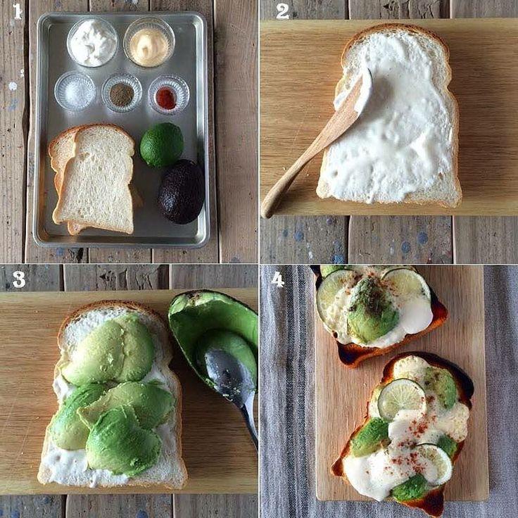 #4コマレシピ  最新号トーストとサンドイッチ特集より焼いたアボカドの濃厚さが際立つ一枚マヨネーズとヨーグルトを混ぜたソースの酸味とアボカドのコクがおしゃれなパンを作ったらハッシュタグ#おしゃパン&#エルアターブル でLet'sシェア 材料食パン2枚分 山型パン6枚切り2枚 アボカド縦半分に切り種を取る1個 ライム薄切り半月切り6枚 チリパウダー適量 塩 適量 こしょう 適量 A マヨネーズ大さじ3 プレーンヨーグルト大さじ3 作り方 材料を準備する Aを混ぜ合わせて1/4の量を山型パンに塗る アボカドをスプーンでくり抜いて食パンにのせる ライムを置き1/4のAをかけるもう一枚同様に作るトースターで好みの焼き色になるまで焼きチリパウダー塩こしょう各少々をふる #elleatable #エルアターブル #パンの記念日 #おしゃパン #パン # #パン部 #レシピ #cooking #recipe #トースト #お家ごはん #デリスタグラマー #おうちカフェ #アボカド #avocado by elleatable.japan
