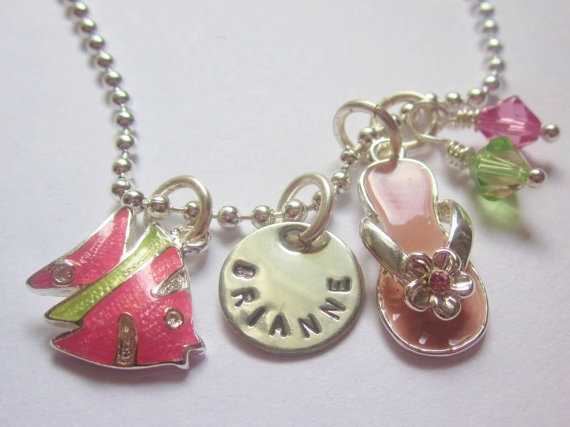 Personalized Sun Lover charm necklace from the belle bambine children's line. This silver adorable and fun necklace will brighten up any little girl's day!