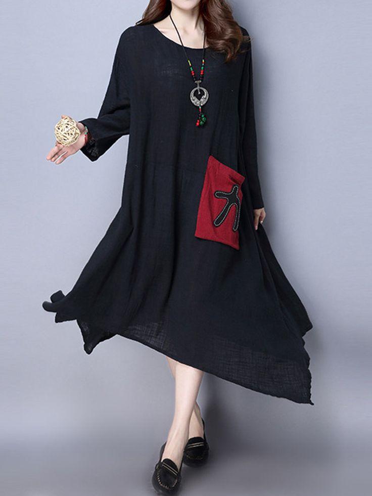 Ethnic Vintage Patchwork Irregular Hem Long Sleeve Dresses For Women