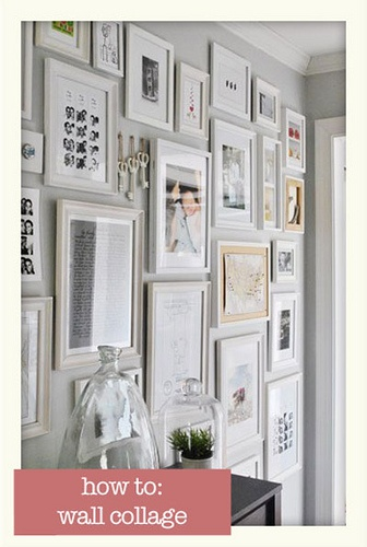 collage wall to display pictures and other memorabilia you can change out the pictures over time buy the same colored frames in a variety of styles and