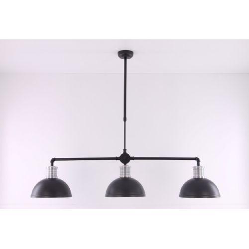 Hanglamp industrieel zwart met zilver 138 cm