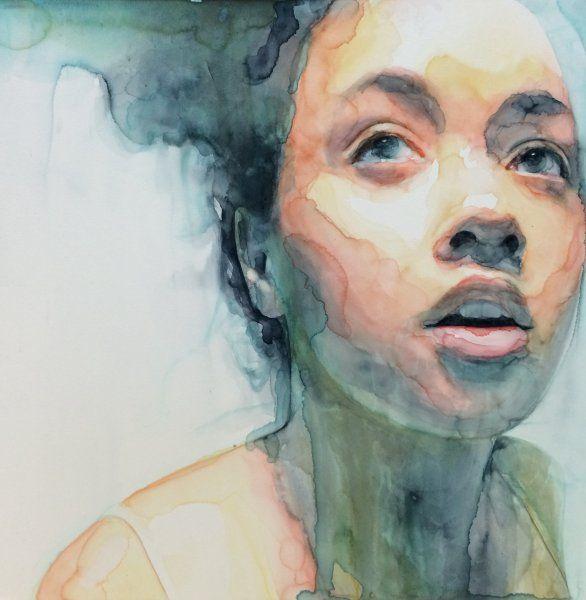 Ali Cavanaugh | Eutierria | watercolor on clay | 12x 12
