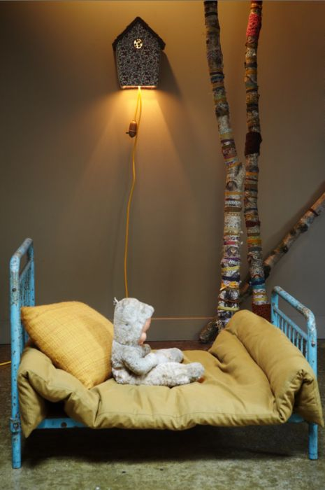 Love the birdhouse nightlight and the ribbon-wrapped birch wood