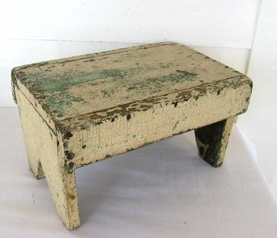 Vintage 1920 Rustic Wooden Farm Foot Stool, Small Bench in Old Cream over Jade Green Chippy Worn Paint. $73.50, via Etsy.