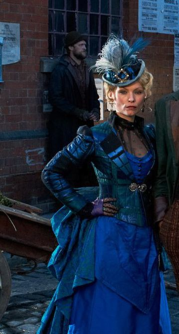 Ripper Street - Blue bustle dress, fitted jacket, and top hat.