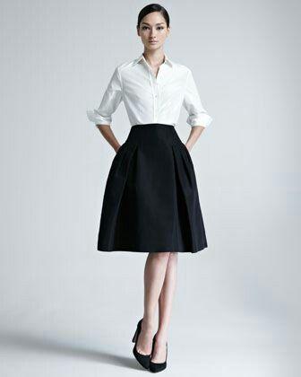Black Skirt White Blouse Body Line Makes Perfect