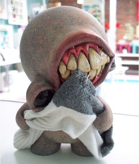 """Before & After Munny: """"The Basement Sock Eater""""   by Chris Ryniak"""