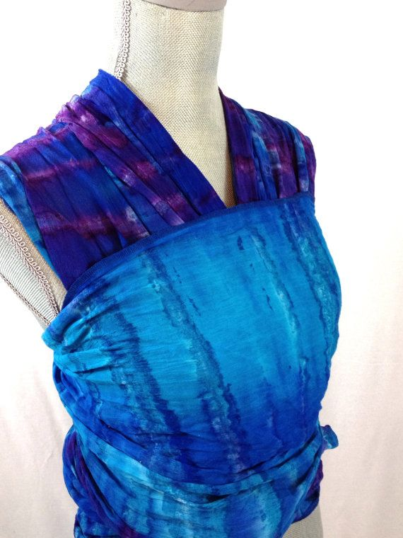 Baby Sling Woven Wrap Carrier Gauze Blue And Purple Tie