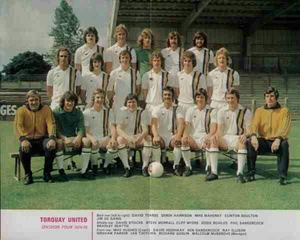 Torquay Utd team group in 1974-75.
