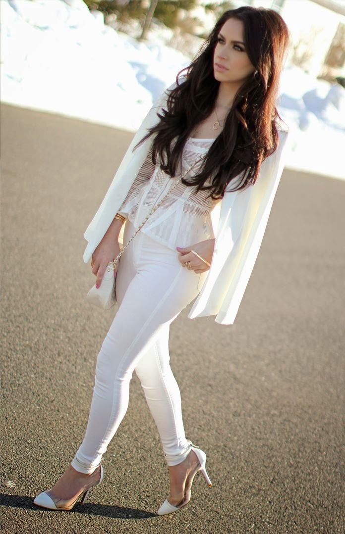 White blazer and white net lace blouse
