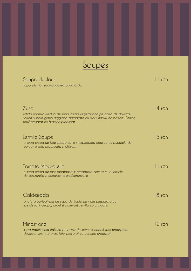 Menu Soupes