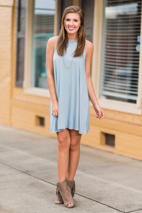 """Simple Gifts Dress, Baby Blue""This dress in itself is a gift!! It's soooo comfortable!! And the color is too precious! #newarrivals #shopthemint"