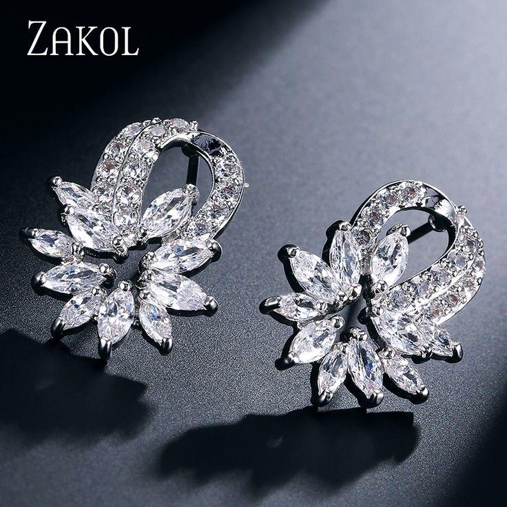 ZAKOL Top Quality Silver Plated Ear Jewelry Trendy Cubic Zircon Flower Shape Girl Women Stud Earrings For Anniversary FSEP168