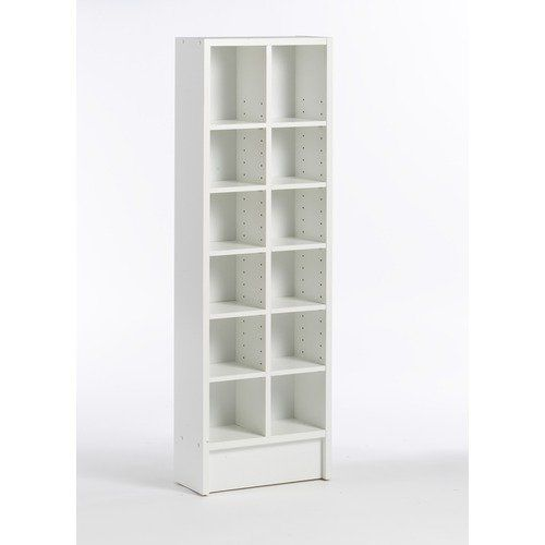 Tvilum Spectrum Bookcase And CD Tower In White   Adjustable Shelves To  Accommodate Books, CDS Or DVDs