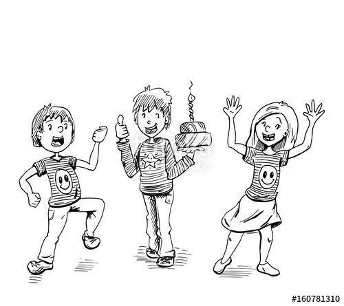 Cartoon illustratie van verjaardag feest. Drie kinderen met een feestelijke taart. #feest #jarig #wenskaart #ontwerp #kinderen #cartoon #illustratie