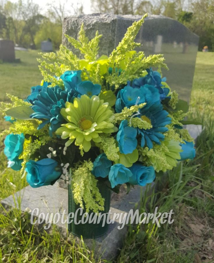 Memorial Flowers-Cemetery Flowers-Tombstone Flowers-Grave Decorations-Grave Arrangement-Grave Flowers-Headstone Flowers-Cemetery Arrangement by CoyoteCountryMarket on Etsy