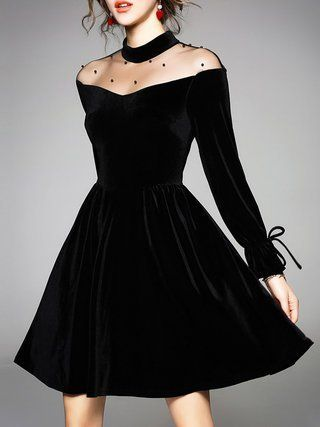 Black See-through Look Bow Cocktail Plus Size Dres…