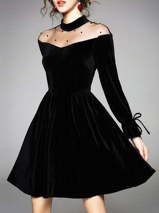 Black See-through Look Bow Cocktail Plus Size Dress #PlusSizeDresses